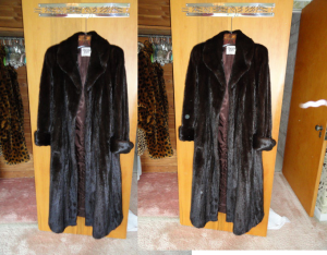 Photos of Virginia's mink coat. The one on the right shows a light anomaly.